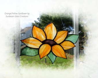 Stained Glass Sunflower, Made by Glass Artisan Sunbeam Glass Creations