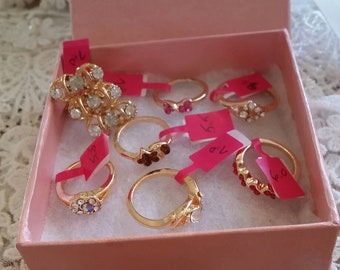 Seven Costume Gold Colored Rings #1