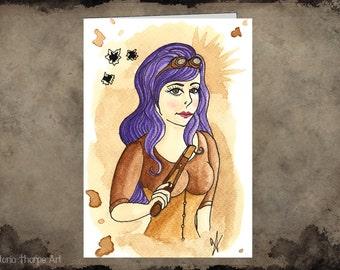 Greeting Card - Steampunk Blank Wild West Gunslinger Goggles Tea Lady Purple Hair Gun Cute Pretty Pastel Goth Shoot Bullet Holes Corset
