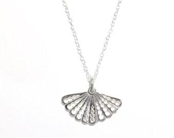 Sterling Silver Hand Fan Necklace