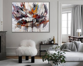 """Contemporary Art Large Original Hand Painted Textured Palette Knife Modern Abstract Wall Art Painting 60"""" 150cm XL"""