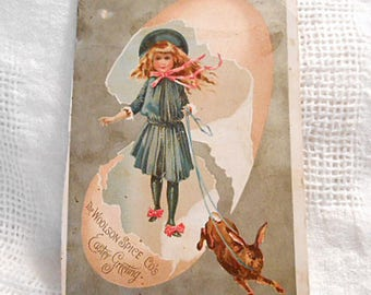 1890s EASTER GIRL & Pet BUNNY on Leash, Blue Dress Hat Pink Bows Egg Shell, Chromo Litho Antique Victorian Woolson Trade Card Ephemera 4 x 7