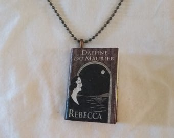Book Pendant - Rebecca Book Pendant - Book Necklace - Daphne Du Maurier - Gothic Romance - Rebecca Necklace - Book Lover- Literary Jewelry