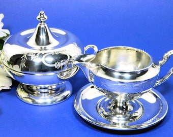 Homan Mfg Company Silverplate Engraved Cream and Sugar Set Art Deco