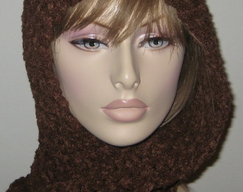 Hooded Scarf In Chocolate Amore