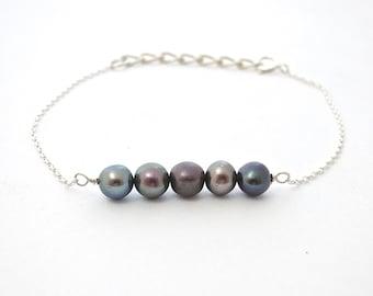 Black Pearl Bracelet, Birthstone Bracelet, Statement Bracelet, Unique Bracelet, Classic Jewelry, Braided Bracelet, Womens Bracelet, Bracelet