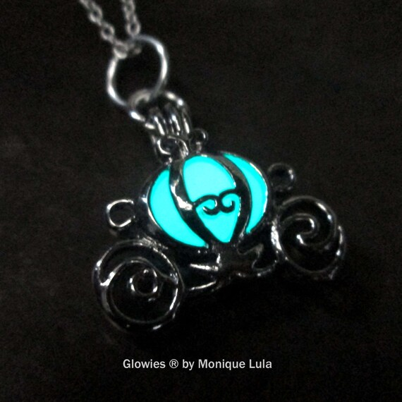 Cinderella Carriage Glow Locket Pendant by Monique Lula, Magic Glowies, Glowing Jewelry necklace