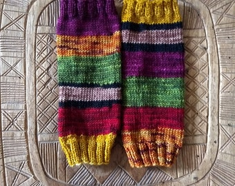 Stained Glass Window-- Fingerless Gloves (The Scrap Yarn Series)