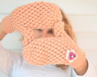 Mittens,Crochet Mittens,Peach Gloves, Salmon Pink, Handwarmer, Women Gloves, Crochet Gloves, Gift For Her