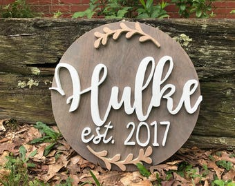 16 inch Round Custom Last Name Sign