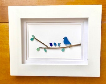 Sea glass and recycled glass art - birds on a branch