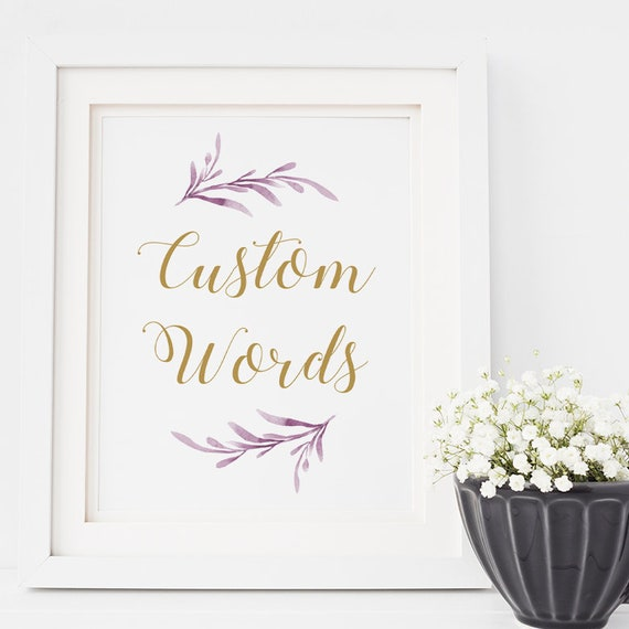 """Custom Lilac Wedding Sign 8x10"""" printable wedding sign """"Lilac Wedding"""" Edit in WORD or PAGES"""
