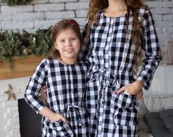 Matching Gingham Shirt Dresses - Matching Mommy Baby dresses - Matching Outfit, Mom & Me, Matching dress, Mini Me, Shift dress, tunic dress