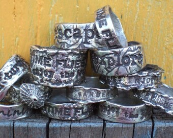 Wedding Rings, Personalized Silver Ring, Silver Jewelry, Custom Quote Sterling Silver Ring, Whole & Half Sizes 4 5 6 7 8 9 10 11 12 13 14 15