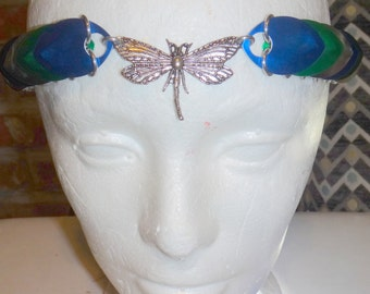 Green, blue and silver Firefly Scale mail chainmail Headress steampunk cosplay ren faire fairy