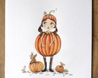 Miss pumpkin, pencil and gouache illustration