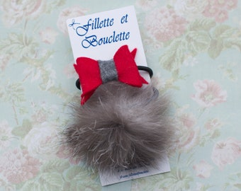 Duo of hair elastics Terry red and grey felt / real recycled fur Pompom. Christmas. Terry