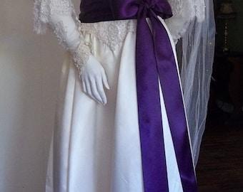 """Eggplant Satin Ribbon Sash, Purple Wedding Sash Belt, Plum Bridal Bridesmaid Sashes, Flower Girl Belt, Double Faced Satin, 2 1/4"""" by 4 yards"""