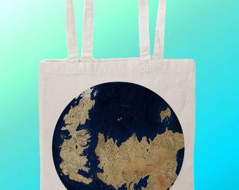 Game of Thrones Map essos and westos  - Reuseable Shopping Canvas Tote Bag