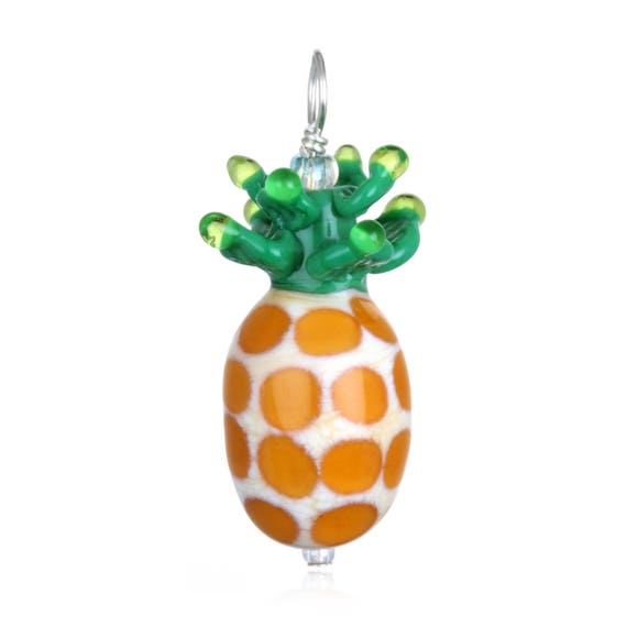 Glass Pineapple Pendant Necklace on Leather