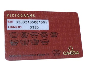 Omega Speedmaster Racing Co-Axial Chrono Pictograms Red Plastic Card 32632405001001 Authentic
