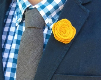 Wool Felt Flower Lapel Pin - Gold