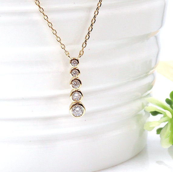 gold plated necklace for women 5 cubic zirconia
