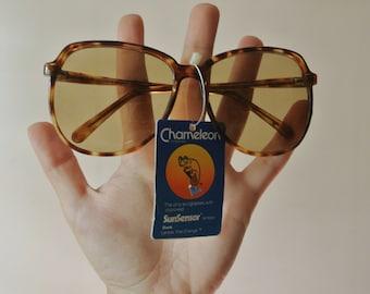 Vintage Circle Sunglasses - Round Tortoise Shell Sunnies - 1980s Shades - Corning Chameleon - Vtg Glasses - Holiday Gift For Her - Sunnies