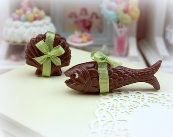 MTO-Chocolate 'Coquille St Jacques' and 'Poisson'' - French Easter Chocolates - 12th Scale Miniature Food