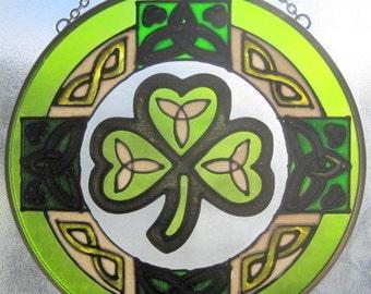 "Hand Painted Celtic Art Glass Irish Shamrock Suncatcher Ornament - Size 7"""