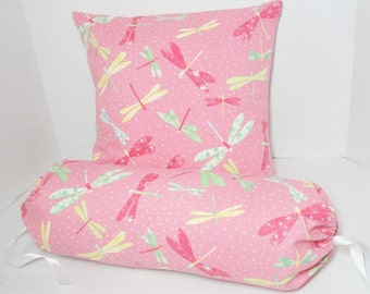 """Spring Pink Pillow cover set, dragonfly pillow, pink green yellow, girl bedroom decor, neck roll bolster 6x14"""", 16"""" cushion cover, custom"""