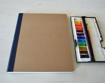 "Blank art journal, large watercolor Journal  9"" x 11.8"" (23x30 cm), with 40 pages of 300 gsm Fabriano cold pressed watercolor paper"