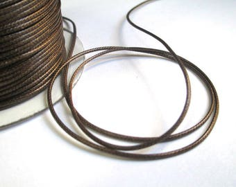 5 m thread cord Brown polyester waxed 1 mm