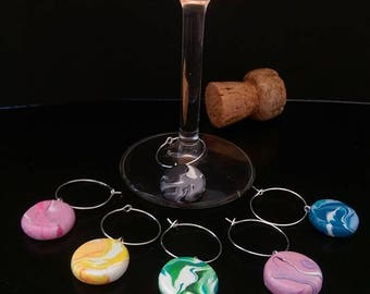 Marbled Polymer Clay Wine Glass Marker Charms, Set of 6