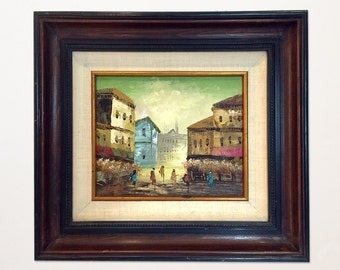 European Street Scene painting singed by the artist:  S. Tarr