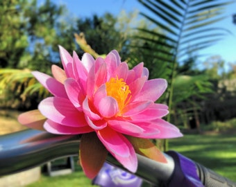 New.. Candy Pink Lotus Flower -  Clip on silk flower for bikes