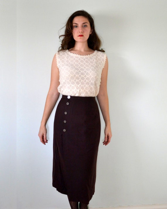 Semisweet Skirt | vintage 50's side button wool pencil skirt