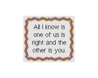 Cross Stitch Pattern, Funny Subversive Counted Cross Stitch Chart, Cowbell Cross Stitch, All I Know Cross Stitch Quote, Instant Download PDF