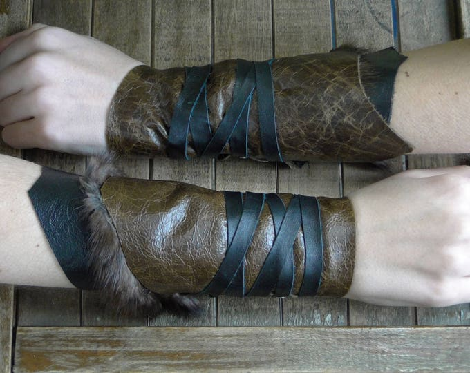Leather Cuffs - Warrior Viking Tribal Larp Costume Cosplay - Pair #7b