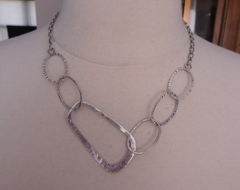 Vintage Hammered Link 925 Sterling Silver Modernist Link Necklace, 17 1/2 - 19 1/2""