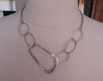 """Vintage Hammered Link 925 Sterling Silver Modernist Link Necklace, 17 1/2 - 19 1/2"""""""