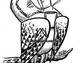 PRINT - Coffee Bliss - cute owl drinking coffee, tea, ink drawing, INKtober art, bird art