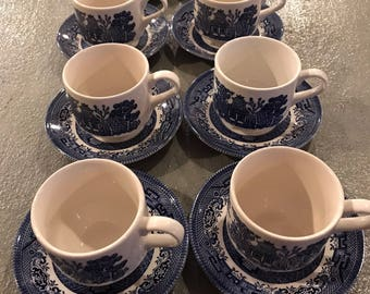 Vintage Churchill Staffordshire Cups And Saucers. Set Of 8 Cups And 8 Saucers Blue Willow Pattern. Fine English China.