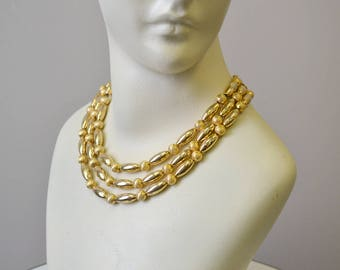 1960s Gold Metal Bead Multi-Strand Necklace