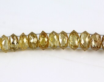 Double Drilled Diamond Beads - Golden Yellow - Diamond Beads - Sold per Bead