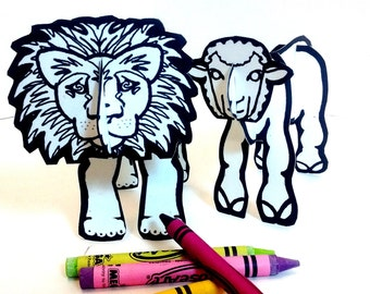 Lion Lamb for Easter and March - Printable Toys