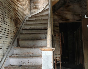 Detroit Photography, Urban Decay, Wall Art, Abandoned Architecture, Downtown Detroit, Street Photography, Stairway