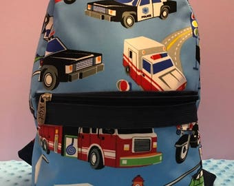 Personalized Preschool Backpack With Emergency Cars