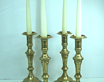 Brass Candlestick Pair Tall Taper Candle Holder Boho Glam