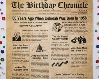 60th Birthday Gifts, Personalized, Headline News Print, Time Capsule, Newsletter Style, 1958 Birthday Gift, Chronicle, 60th Milestone Gifts